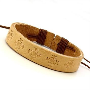 Unisex Leather Bracelet with Stamped Cross Design