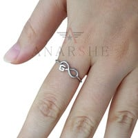 Initial thin infinity ring, infinity letter ring, initial ring, infinity ring, letter ring, best friends ring