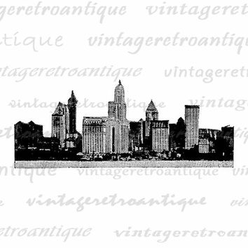 City Skyline Digital Image Graphic Skyscrapers Printable Illustration Download Vintage Clip Art Jpg Png Eps  HQ 300dpi No.1934