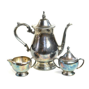 Silverplate Oneida Tea Set - Teapot, Creamer Pitcher & Lidded Sugar Bowl - Ridgewood, Heavy Tarnish / Patina - Vintage Home Decor