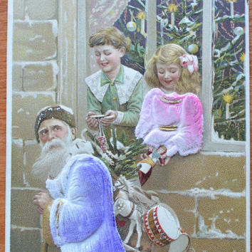 Santa Claus Postcard Christmas Postcard Purple Suit Santa Children Applied Felt Novelty Postcard