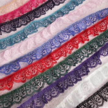 Ruffled Lace Trim, Assorted Colors, Bridal Accessories, Doll Clothes, Apparel, Socks Trim, Costumes, Fascinators, Fashion Lace Trim, 5 YARDS