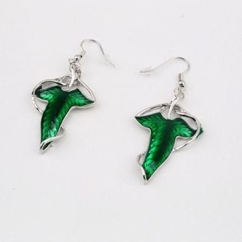 DCCKLW8 1 Pair Elegant Women Green Leaf Elven Dangle Pendant Ear Hook Earrings Hot Sale Fashion Jewelry a Good Gift for Your Friends