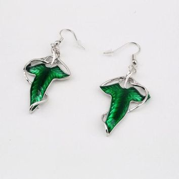 LMFGC3 1 Pair Elegant Women Green Leaf Elven Dangle Pendant Ear Hook Earrings Hot Sale Fashion Jewelry a Good Gift for Your Friends