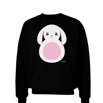 TooLoud Cute Bunny with Floppy Ears - Pink Adult Dark Sweatshirt