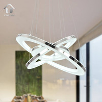Modern LED Acrylic Pendant Lighting With 3 Rings Max 33W Chrome Finish