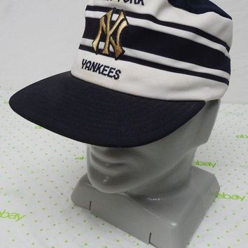 DCCK7BE Vintage NY Yankees hat cap snap back blue white classic stripes made in USA Larg