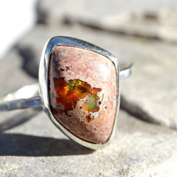 fire opal ring silver, opal engagement ring, faceted silver ring opal, mexican fire opal ring, matrix opal ring anniversary gift size 7.25US