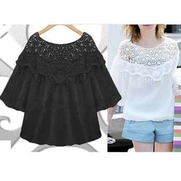 Black/White Lace Casual Shirt SP165445
