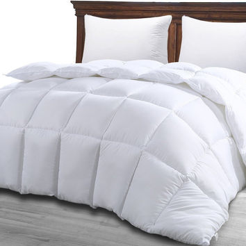 Queen Comforter Duvet Insert White - Quilted Comforter with Corner Tabs - Hypoallergenic Plush Siliconized Fiberfill Box Stitched Down Alternative Comforter by Utopia Bedding Queen 88-by-88 inch