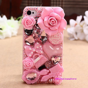 iphone 5 case decoden iPhone 5 case cover Bling iphone 5 case Heart Roses flower iphone 4 case Pink Kawaii iPhone 5 Case Bow iPhone 4s Skin