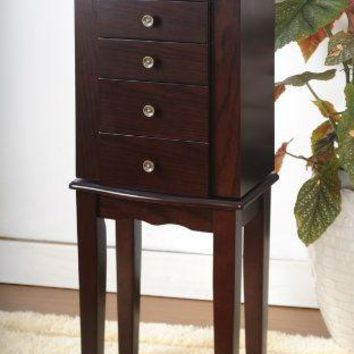 Espresso Wood Finish Jewelry Chest Stand With Swing Out Doors