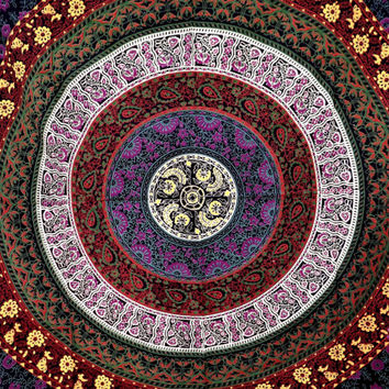 Floral Red Yellow mandala bedspread wall hang