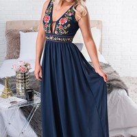 Saturday Afternoon Embroidered Maxi (Navy)
