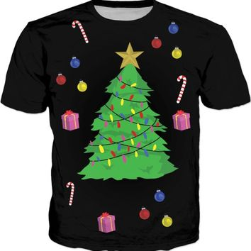 Short Sleeve New Arrive Christmas Shirt Merry Christmas Tree T-Shirt Hipster Casual Gift Candy cane Outfits Girl Tops Drip Ship