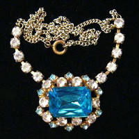 "Art Deco Bib Necklace Aqua Blue & Clear Rhinestones Gold Chain 17"" Vintage"