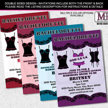 Bachelorette Party Invitations,  Lingerie Shower Invitations, Bridal Shower Invitations