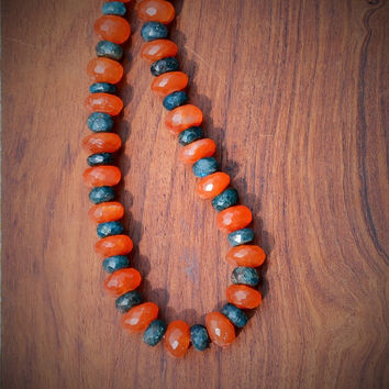 Carnelian and Apatite Necklace Stone Orange Green Handmade Gemstone Kynd Valley