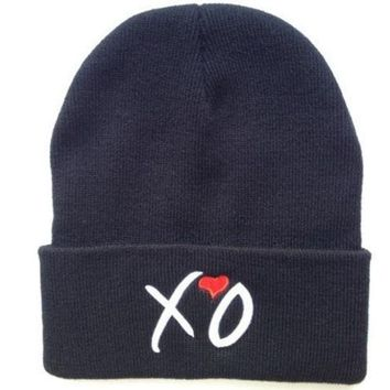DCCKIX3 Hip-Hop Fashion XO Beanies Hats  wool winter Cotton knitted warm caps Snapback hat for man and women (Color: Black)
