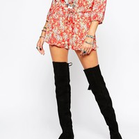 ASOS KITCH Suede Over The Knee Boots