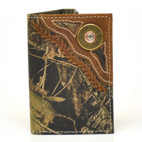 Nocona Tri-fold Genuine Leather Camo Western Men's Wallet w/Concho-N54444222