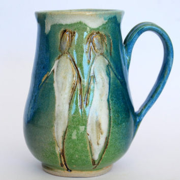 Handmade pottery mug. 16 oz. Stoneware Mug Coffee Mug.  Blue green ceramic coffee mug . Women mug.