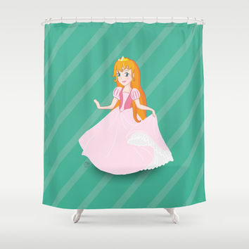 A princess drawing with light pink dress red hair and golden crown Shower Curtain by Bad English Cat