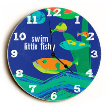 Swim Little Fish Unique Wall Clock by Artist Lisa Weedn