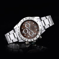 Rolex three fashionable tide brand watches F-SBHY-WSL Silver + silver case + brown dial
