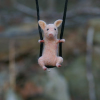 Tiny Pig Necklace / sculpture - needle felted