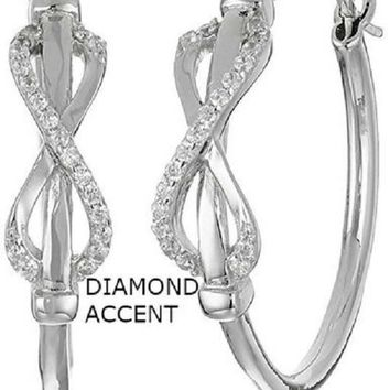 Huggy 18kt White Gold Plated Diamond Accent Infinity Earrings