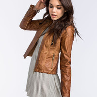 Jou Jou Gar Dye Womens Faux Leather Jacket Tobacco  In Sizes