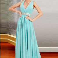 Deep V-neck Simple Chiffon Long Open Back Prom Dresses