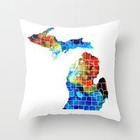 Michigan State Map - Counties by Sharon Cummings Throw Pillow by Sharon Cummings