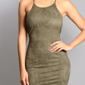 Backless Suede Midi Olive