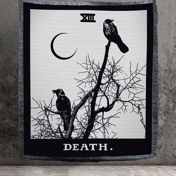 Large Woven Tapestry - Death Tarot Card Tapestry - Rider Waite Deck - Cotton