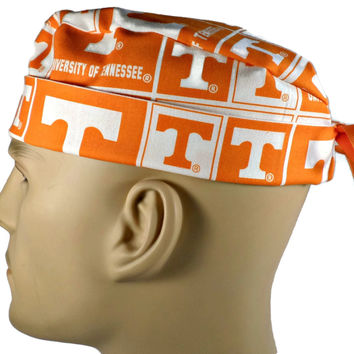 Men's Adjustable Cuffed or Un-Cuffed Surgical Scrub Hat Cap in Tennessee Volunteers Squares