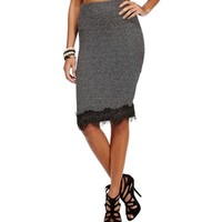 CharcoalBlack Texture Lace Trim Pencil Skirt