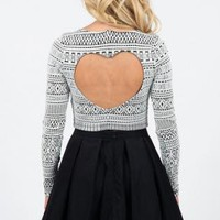 Aztec Print Long Sleeve Crop Top with Heart Cutout Back