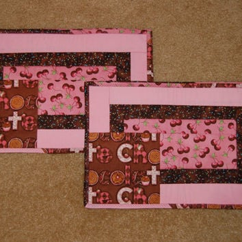 Chocolate covered cherry placemats quilted monogrammed applique wedding housewarming Christmas chocolate sprinkles pink and brown