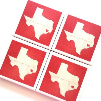 Tile Coaster, Ceramic Coaster, Houston Texas Love Coasters, TX State Love, Red, State Art, Texas Print, Drink Coasters