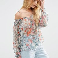 ASOS Pretty Sheer Off The Shoulder Floral Top