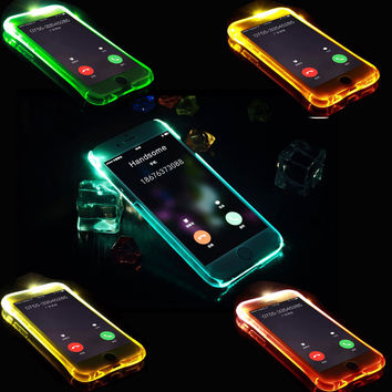 Phone Back Case Fundas For iPhone 5 5S SE 6 6S 7 Plus Cover Anti-Knock Soft TPU LED Flash Light Up Remind Incoming Call Cases