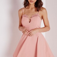 Missguided - Lace Trim Skater Dress Baby Pink