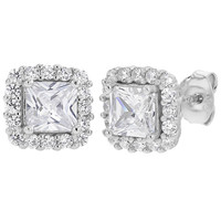 925 Sterling Silver Square Clear CZ Princess Evening Women Stud Earrings