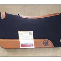FNC1 BAYOU WEST BLACK CONTOURED WOOL FELT NEOPRENE HORSE SADDLE PAD MADE IN USA - WOOL FELT PADS - SADDLE PADS - SADDLES & TACK
