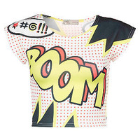 Cameo Rose Yellow and Black Boom Crop Top