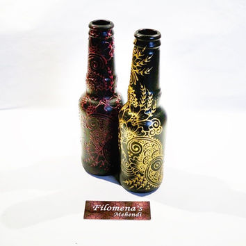 Henna bottle, Boho home gift, Glass bottle table, Henna art, Bohemian art decor, Mehndi design, Boho henna, Henna art vase, Eco friendly