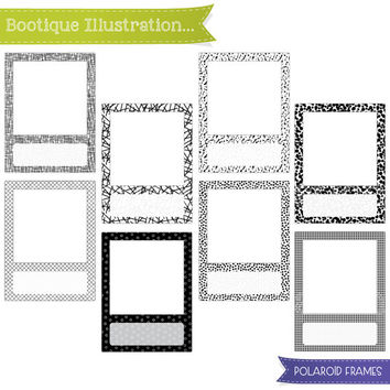 Polaroid Frames Clipart Set. Black and White Frames Clipart Digial Graphics for Personal and Commercial Use* Png, Jpeg, Eps Included