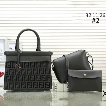 Fendi classic double F letter embossed women's tide brand shoulder bag handbag three-piece #2